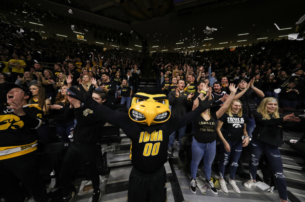 Herky The Hawk against the Indiana Hoosiers Friday, February 22, 2019 at Carver-Hawkeye Arena. (Brian Ray/hawkeyesports.com)