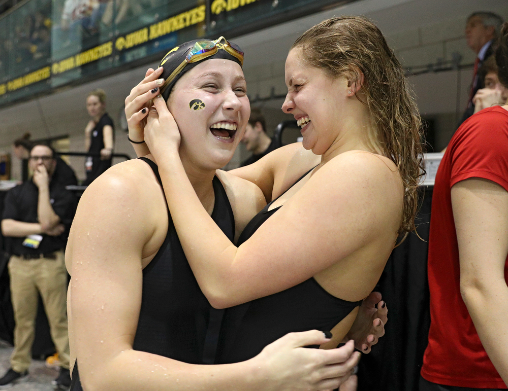 Iowa's Aleksandra Olesiak celebrates after setting a career-best time in the women's 200 yard breaststroke C final event during the 2020 Women's Big Ten Swimming and Diving Championships at the Campus Recreation and Wellness Center in Iowa City on Saturday, February 22, 2020. (Stephen Mally/hawkeyesports.com)