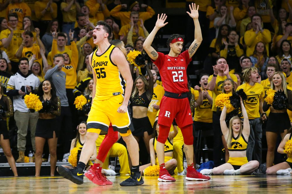 Iowa Hawkeyes center Luka Garza (55) reacts after scoring during the Iowa men's basketball game vs Rutgers on Wednesday, January 22, 2020 at Carver-Hawkeye Arena. (Lily Smith/hawkeyesports.com)