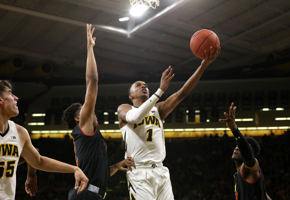 Iowa Hawkeyes guard Maishe Dailey (1) against the Maryland Terapins Tuesday, February 19, 2019 at Carver-Hawkeye Arena. (Brian Ray/hawkeyesports.com)