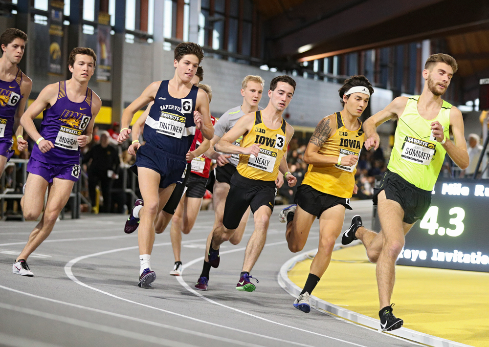 Iowa's Noah Healy (from left) and Daniel Soto run the men's 1 mile run event during the Hawkeye Invitational at the Recreation Building in Iowa City on Saturday, January 11, 2020. (Stephen Mally/hawkeyesports.com)