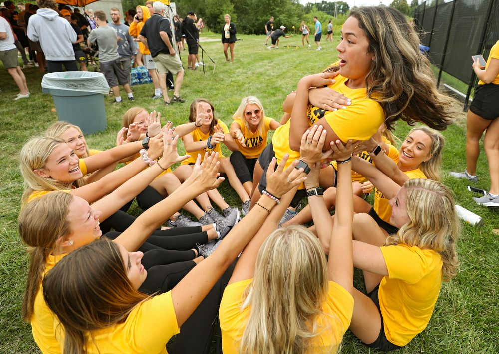 Dance team members during the Student-Athlete Kickoff outside the Karro Athletics Hall of Fame Building in Iowa City on Sunday, Aug 25, 2019. (Stephen Mally/hawkeyesports.com)