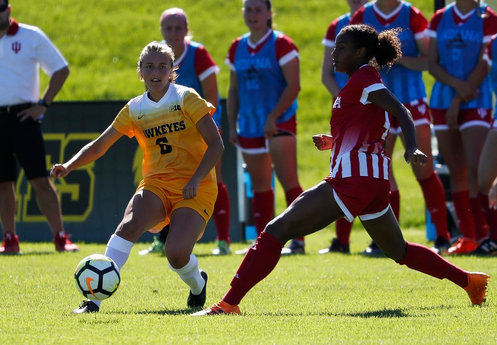 Iowa Hawkeyes midfielder Isabella Blackman (6) dribbles the ball during a game against Indiana at the Iowa Soccer Complex on September 23, 2018. (Tork Mason/hawkeyesports.com)