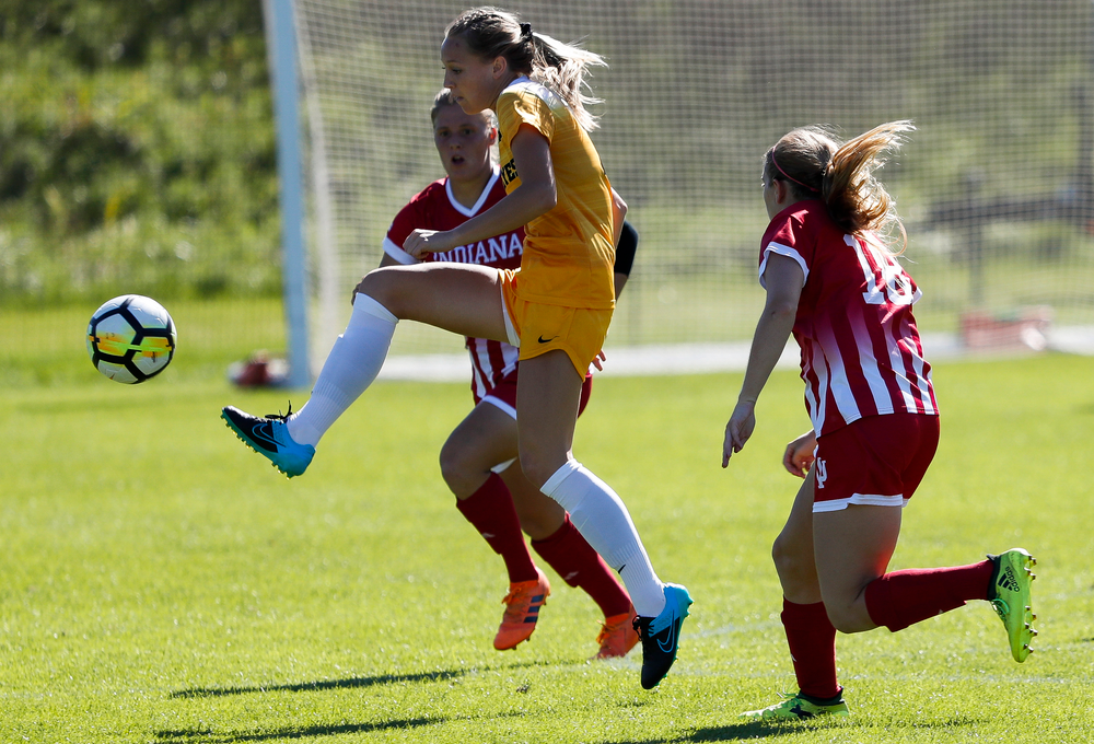 Iowa Hawkeyes midfielder Hailey Rydberg (2) passes the ball during a game against Indiana at the Iowa Soccer Complex on September 23, 2018. (Tork Mason/hawkeyesports.com)