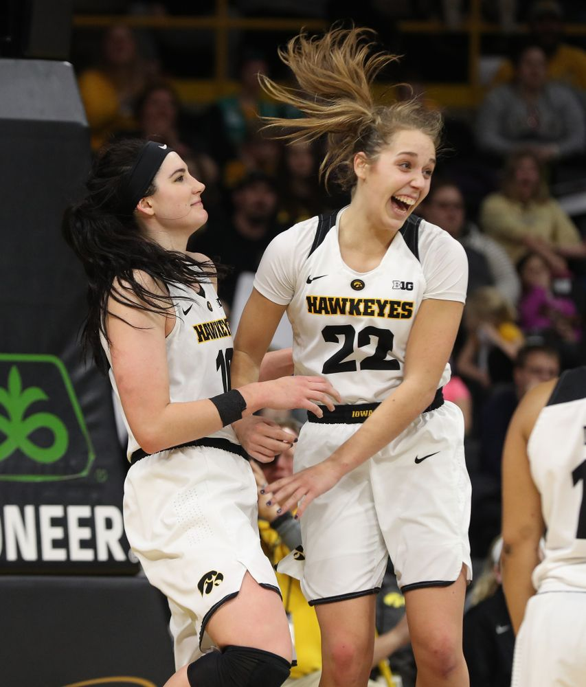 Iowa Hawkeyes forward Megan Gustafson (10) and guard Kathleen Doyle (22) against the Purdue Boilermakers Sunday, January 27, 2019 at Carver-Hawkeye Arena. (Brian Ray/hawkeyesports.com)