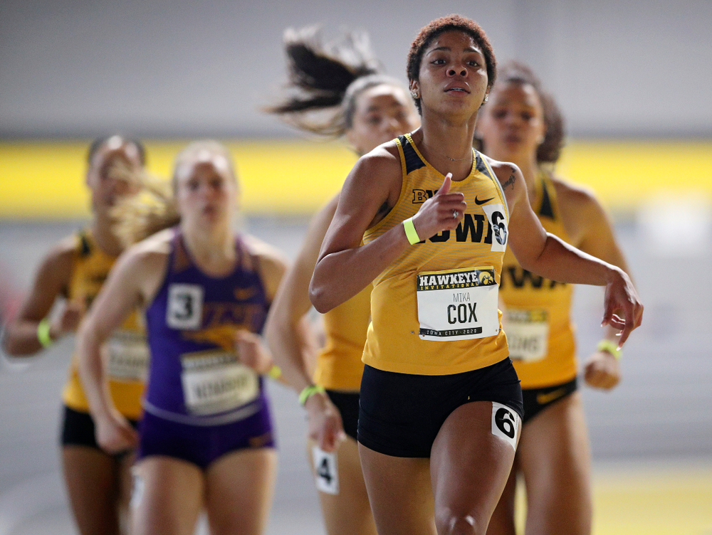 Iowa's Mika Cox runs the women's 600 meter run event during the Hawkeye Invitational at the Recreation Building in Iowa City on Saturday, January 11, 2020. (Stephen Mally/hawkeyesports.com)