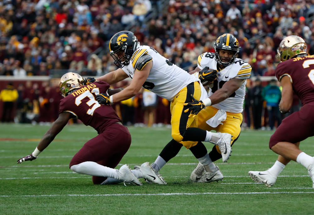 Iowa Hawkeyes fullback Brady Ross (36) blocks for running back Toren Young (28) against the Minnesota Golden Gophers Saturday, October 6, 2018 at TCF Bank Stadium. (Brian Ray/hawkeyesports.com)