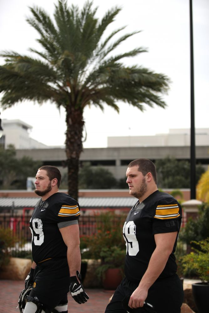 Iowa Hawkeyes offensive lineman Ross Reynolds (59) and offensive lineman Keegan Render (69) during the team's first Outback Bowl Practice in Florida Thursday, December 27, 2018 at Tampa University. (Brian Ray/hawkeyesports.com)