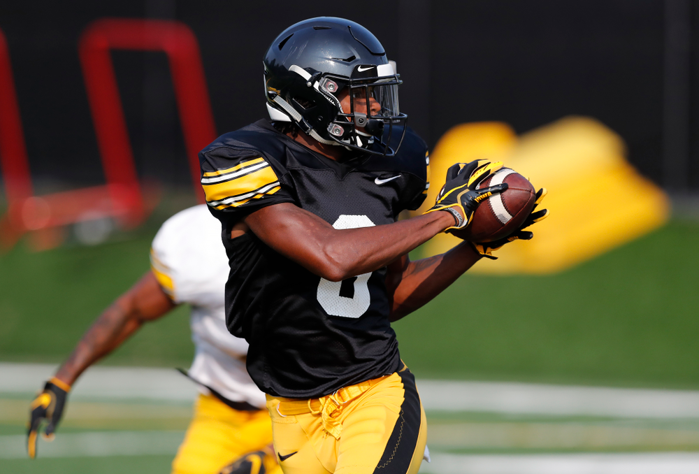 Iowa Hawkeyes wide receiver Ihmir Smith-Marsette (6) during camp practice No. 16 Tuesday, August 21, 2018 at the Hansen Football Performance Center. (Brian Ray/hawkeyesports.com)