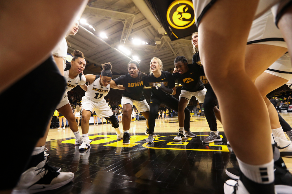 The Iowa Hawkeyes women's basketball team huddles up before a game against North Carolina Central at Carver-Hawkeye Arena on November 17, 2018. (Tork Mason/hawkeyesports.com)