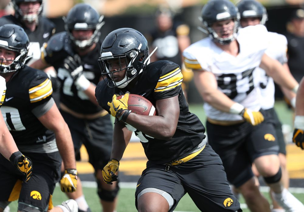 Iowa Hawkeyes running back Shadrick Byrd (23) during Fall Camp Practice No. 4 Monday, August 5, 2019 at the Ronald D. and Margaret L. Kenyon Football Practice Facility. (Brian Ray/hawkeyesports.com)
