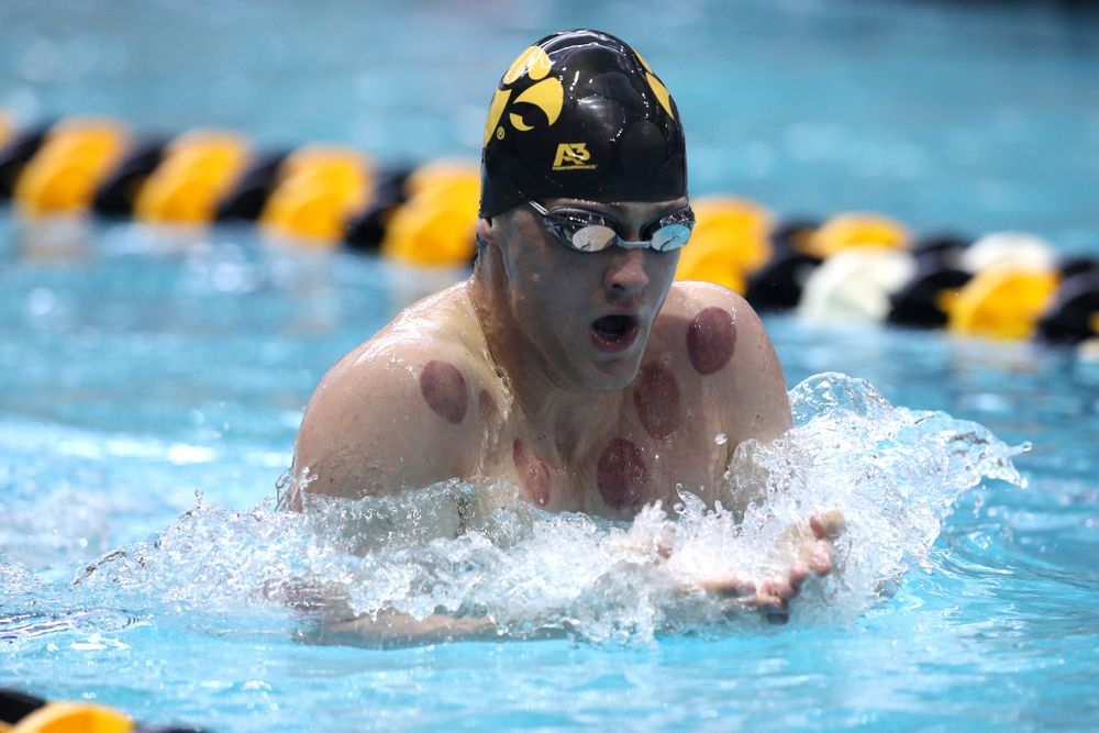 Iowa's Caleb Babb competes in the 200-yard breaststroke during the 2019 Big Ten Men's Swimming and Diving Championships Saturday, March 2, 2019 at the Campus Wellness and Recreation Center. (Brian Ray/hawkeyesports.com)