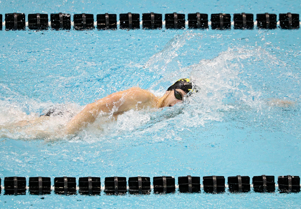 Iowa's Jackson Allmon swims the men's 200-yard freestyle event during their meet against Michigan State and Northern Iowa at the Campus Recreation and Wellness Center in Iowa City on Friday, Oct 4, 2019. (Stephen Mally/hawkeyesports.com)