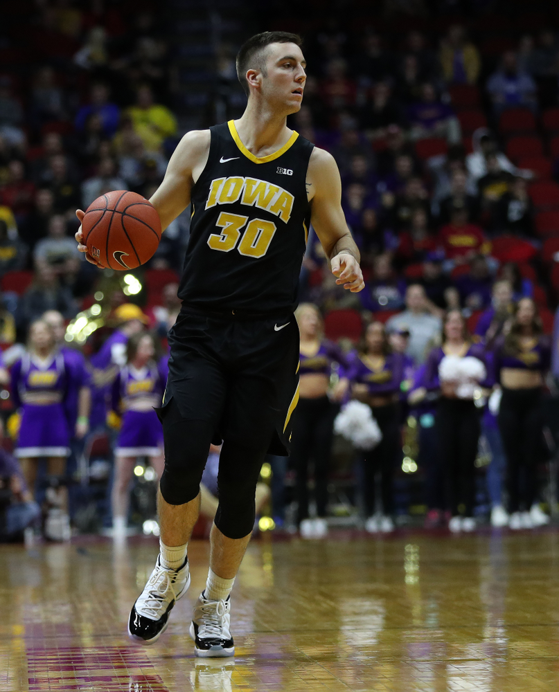 Iowa Hawkeyes guard Connor McCaffery (30) against the Northern Iowa Panthers in the Hy-Vee Classic Saturday, December 15, 2018 at Wells Fargo Arena in Des Moines. (Brian Ray/hawkeyesports.com)