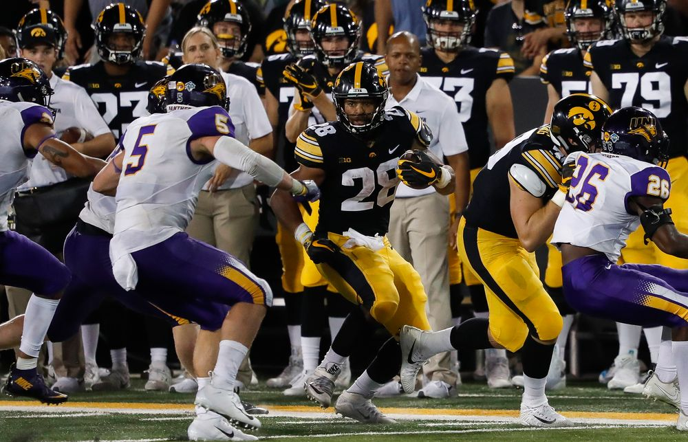 Iowa Hawkeyes running back Toren Young (28) runs the ball during a game against Northern Iowa at Kinnick Stadium on September 15, 2018. (Tork Mason/hawkeyesports.com)