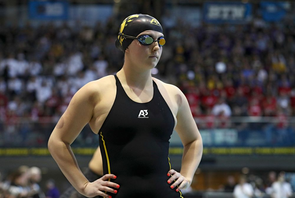 Iowa's Christina Crane swims in the women's 200 yard breaststroke preliminary event during the 2020 Women's Big Ten Swimming and Diving Championships at the Campus Recreation and Wellness Center in Iowa City on Saturday, February 22, 2020. (Stephen Mally/hawkeyesports.com)