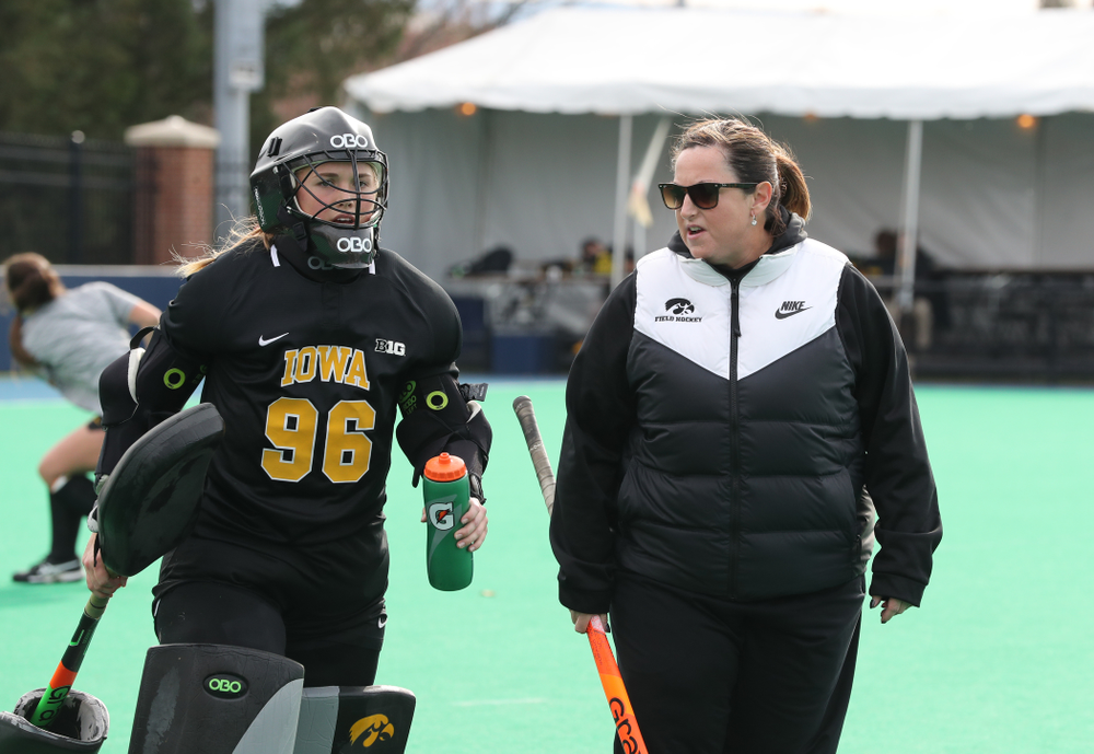 Iowa Hawkeyes goaltender Leslie Speight (96) and head coach Lisa Cellucci against Penn State in the 2019 Big Ten Field Hockey Tournament Championship Game Sunday, November 10, 2019 in State College. (Brian Ray/hawkeyesports.com)