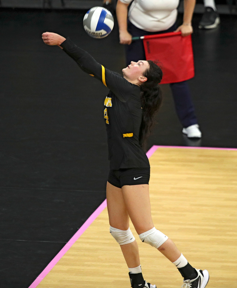 Iowa's Halle Johnston (4) eyes the ball during their match at Carver-Hawkeye Arena in Iowa City on Sunday, Oct 20, 2019. (Stephen Mally/hawkeyesports.com)