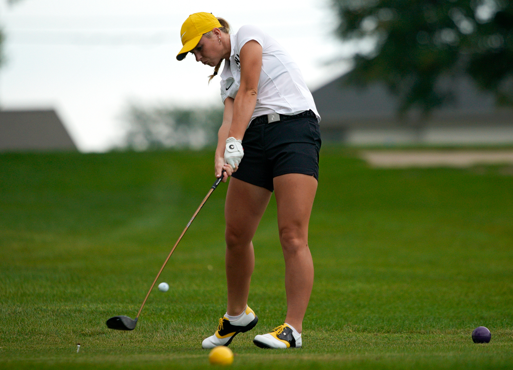 Iowa's Lilly Gentzkow tees off during their dual against Northern Iowa at Pheasant Ridge Golf Course in Cedar Falls on Monday, Sep 2, 2019. (Stephen Mally/hawkeyesports.com)