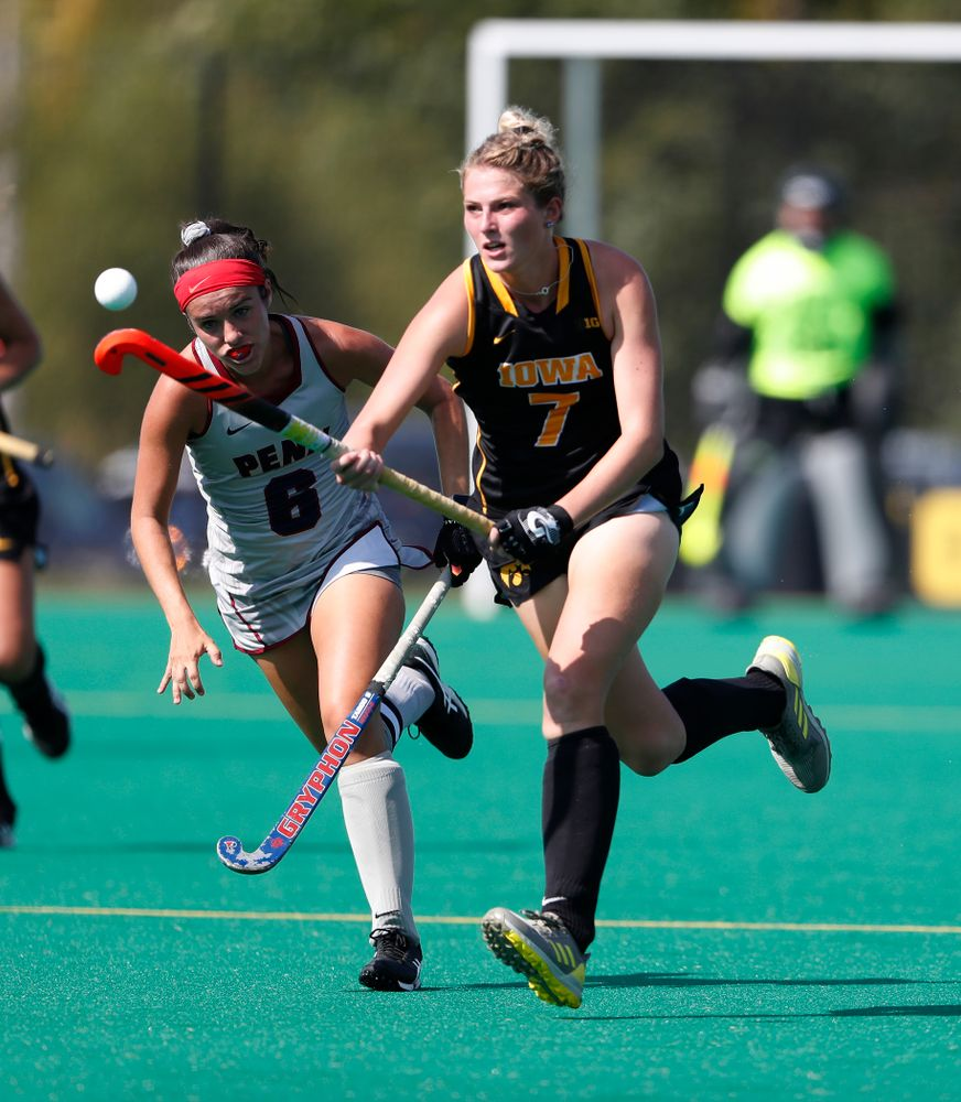 Iowa Hawkeyes Ellie Holley (7) against the Penn Quakers Friday, September 14, 2018 at Grant Field. (Brian Ray/hawkeyesports.com)