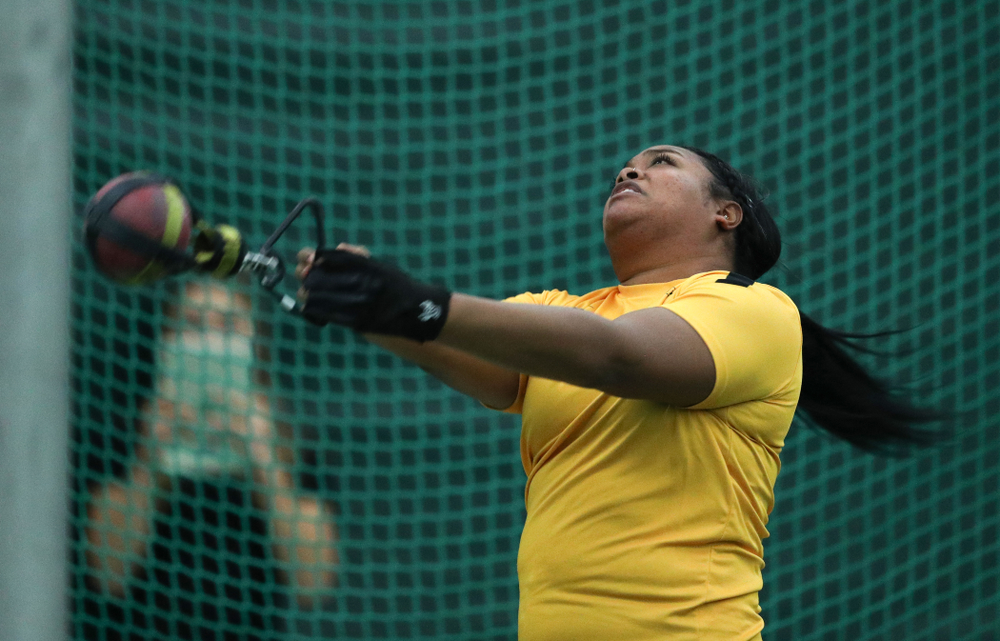 Iowa's Laulauga Tausaga competes in the weight throw during the Jimmy Grant Invitational  Saturday, December 8, 2018 at the Hawkeye Tennis and Recreation Center. (Brian Ray/hawkeyesports.com)