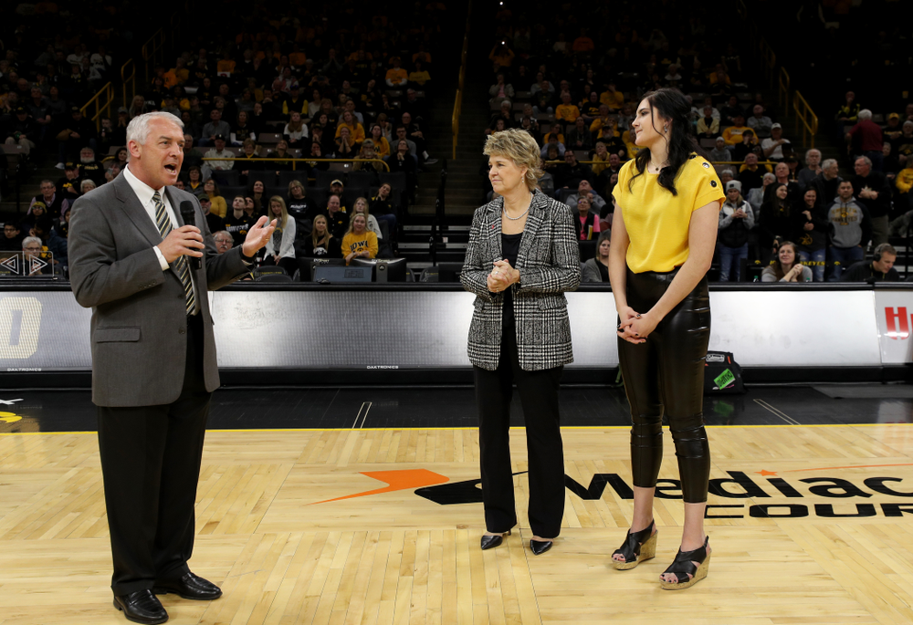Henry B. and Patricia B. Tippie Director of Athletics Chair Gary Barta speaks during Megan Gustafson's jersey retirement ceremony Sunday, January 26, 2020 at Carver-Hawkeye Arena. (Brian Ray/hawkeyesports.com)