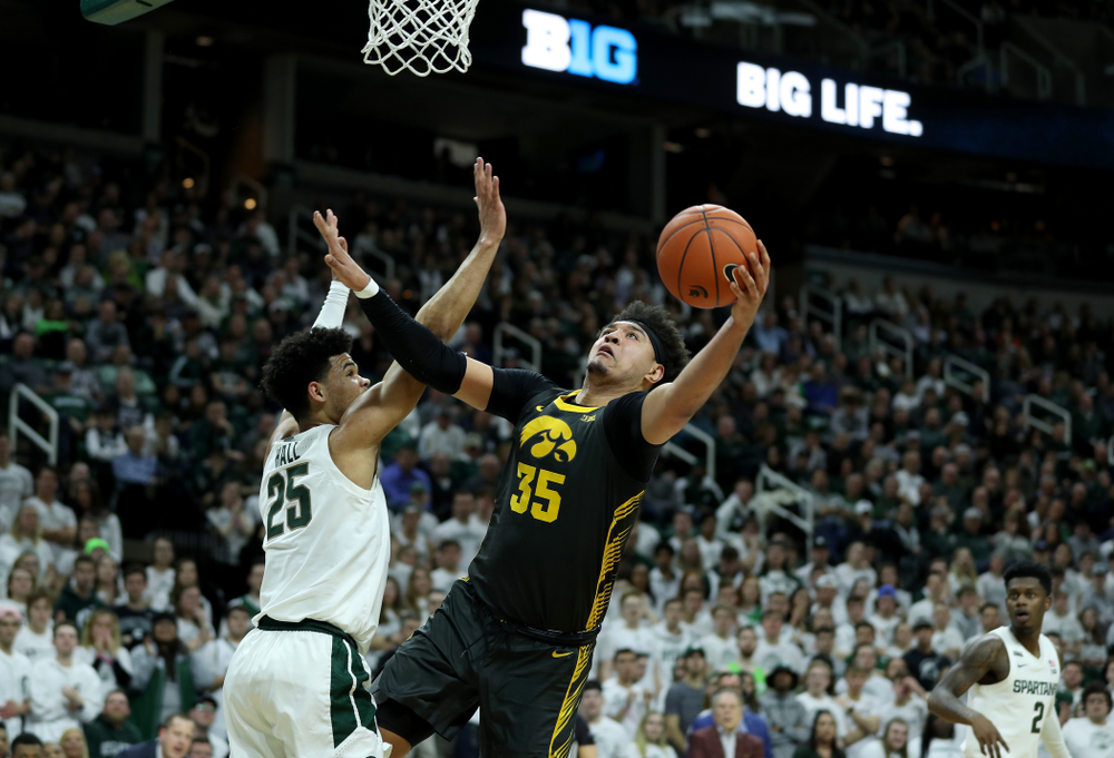 Iowa Hawkeyes forward Cordell Pemsl (35) against Michigan State Tuesday, February 25, 2020 at the Breslin Center in East Lansing, MI. (Brian Ray/hawkeyesports.com)