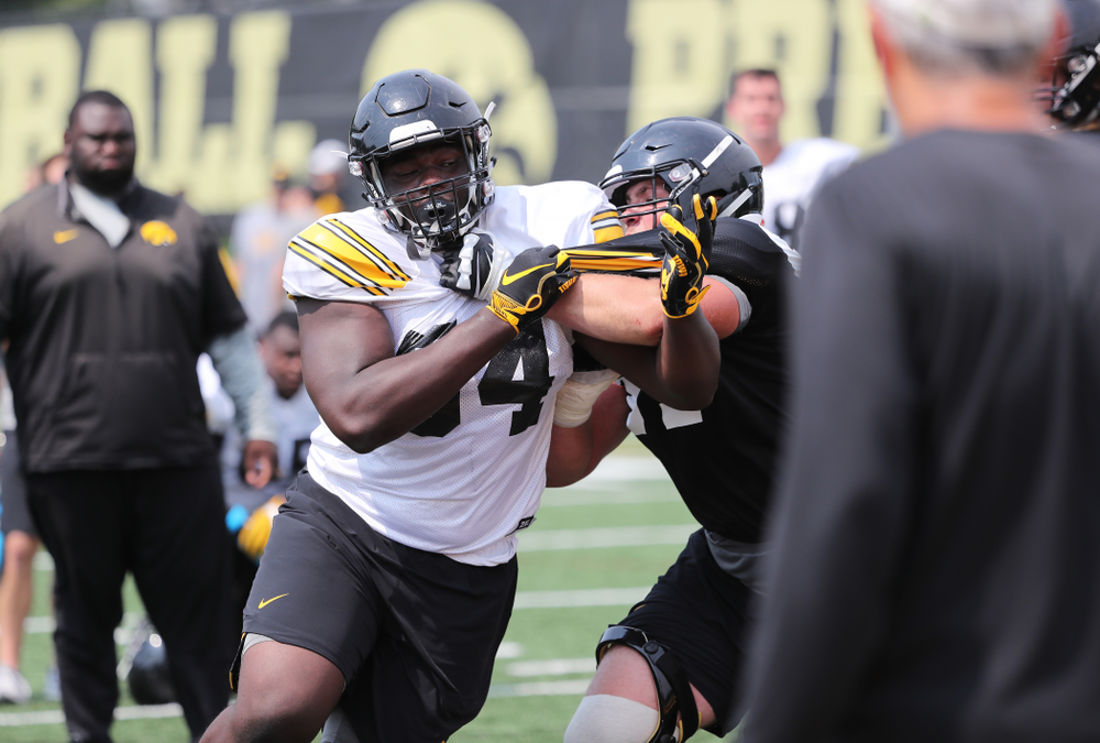 Iowa Hawkeyes defensive tackle Daviyon Nixon (54) during the third practice of fall camp Sunday, August 5, 2018 at the Kenyon Football Practice Facility. (Brian Ray/hawkeyesports.com)
