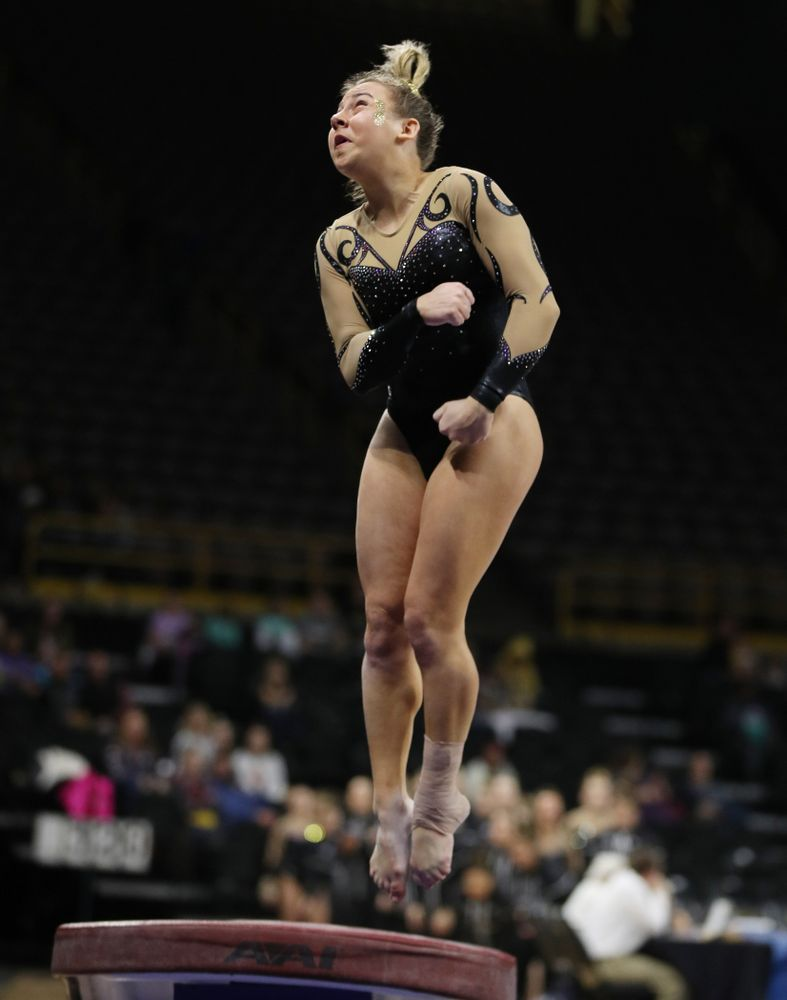 Iowa's Alex Greenwald competes on the vault during their meet against Southeast Missouri State Friday, January 11, 2019 at Carver-Hawkeye Arena. (Brian Ray/hawkeyesports.com)