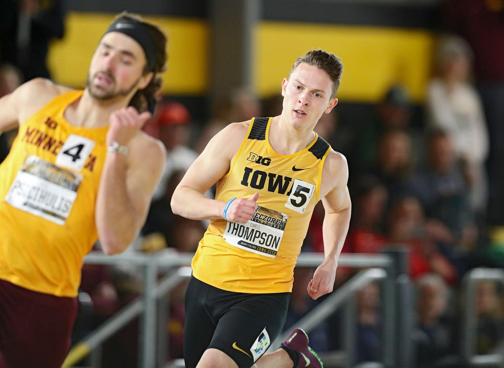 Iowa's Chris Thompson runs the men's 400 meter dash premier event during the Larry Wieczorek Invitational at the Recreation Building in Iowa City on Saturday, January 18, 2020. (Stephen Mally/hawkeyesports.com)
