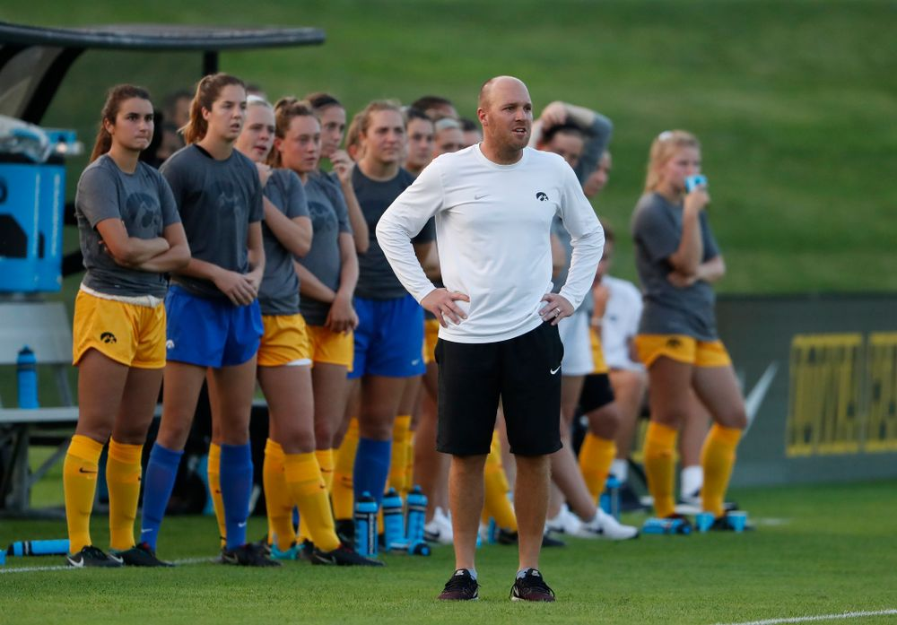 Iowa Hawkeyes assistant coach Rade Tanaskovic against the Missouri Tigers Friday, August 17, 2018 at the Iowa Soccer Complex. (Brian Ray/hawkeyesports.com)