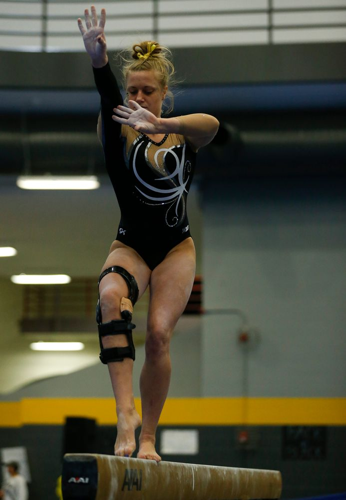 Jori Robertson competes on the balance beam during the Black and Gold Intrasquad meet at the Field House on 12/2/17. (Tork Mason/hawkeyesports.com)