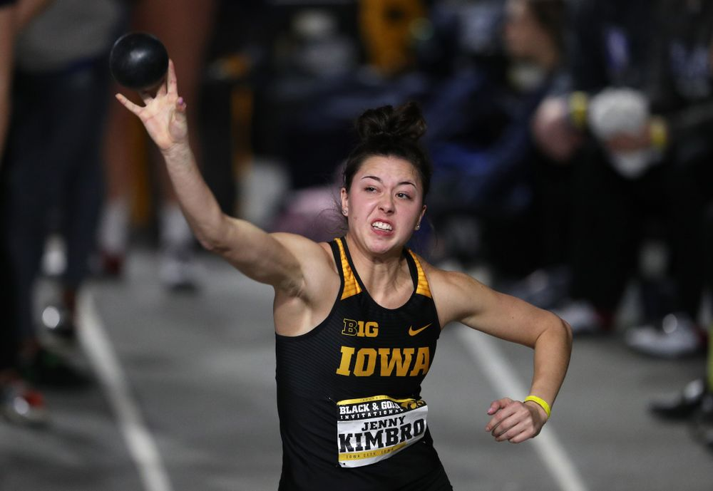 Iowa's Jenny Kimbro competes in the Shot Put during the Black and Gold Premier meet Saturday, January 26, 2019 at the Recreation Building. (Brian Ray/hawkeyesports.com)