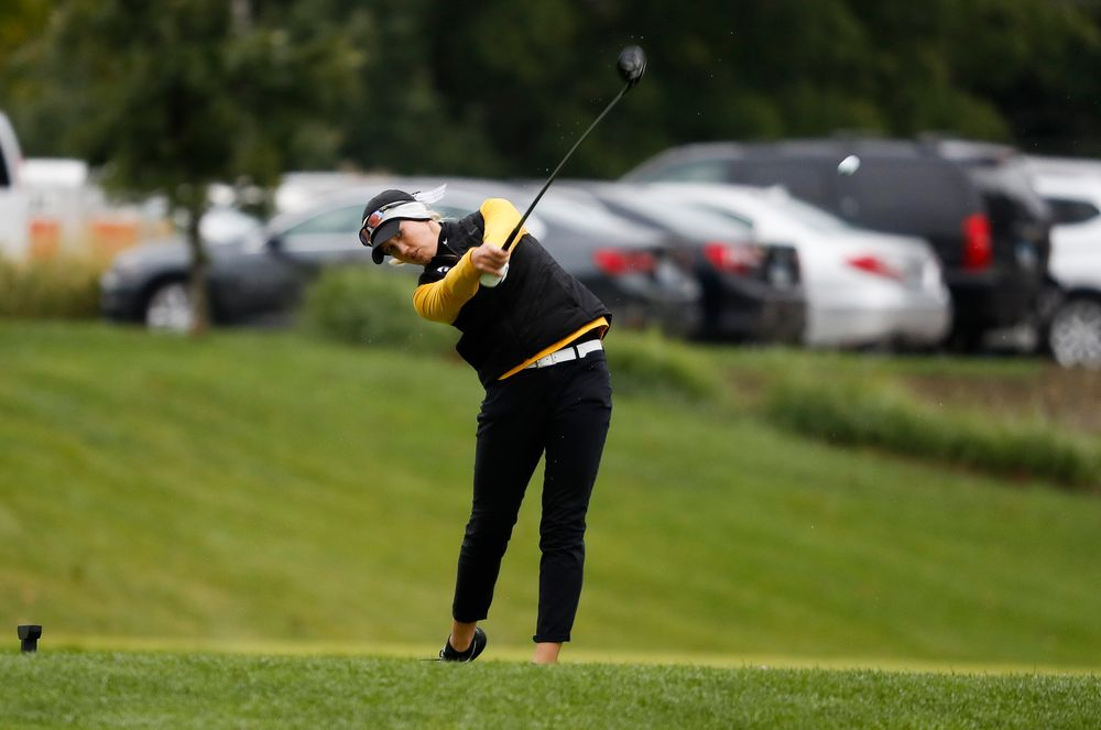 Iowa's Shawn Rennegarbe tees off during the Diane Thomason Invitational at Finkbine Golf Course on September 29, 2018. (Tork Mason/hawkeyesports.com)