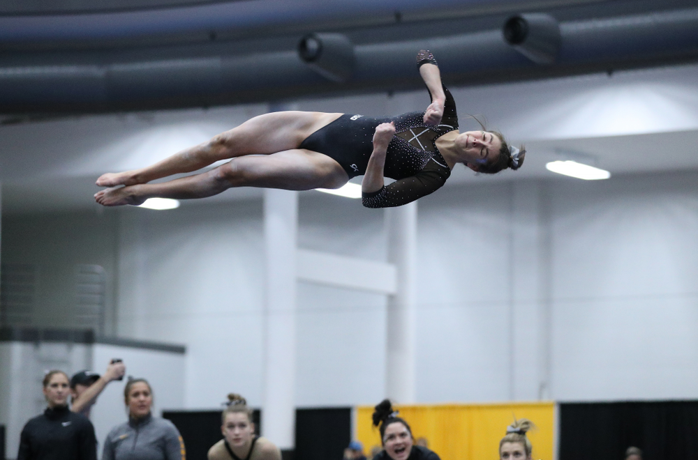 Bridget Killian competes on the floor during the Black and Gold intrasquad meet Saturday, December 1, 2018 at the University of Iowa Field House. (Brian Ray/hawkeyesports.com)