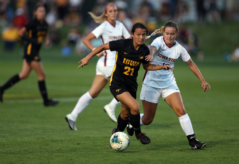 Iowa Hawkeyes forward Emma Tokuyama (21) during a 2-1 victory over the Iowa State Cyclones Thursday, August 29, 2019 in the Iowa Corn Cy-Hawk series at the Iowa Soccer Complex. (Brian Ray/hawkeyesports.com)
