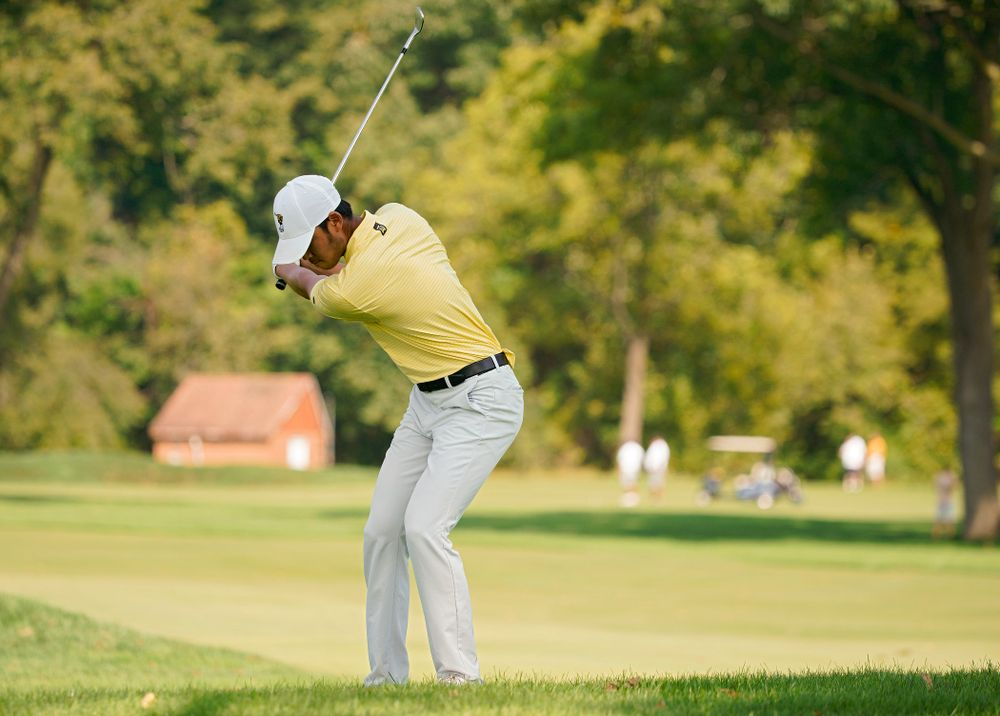 Iowa's Joe Kim drives a shot during the third day of the Golfweek Conference Challenge at the Cedar Rapids Country Club in Cedar Rapids on Tuesday, Sep 17, 2019. (Stephen Mally/hawkeyesports.com)