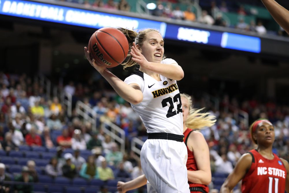 Iowa Hawkeyes guard Kathleen Doyle (22) against the NC State Wolfpack in the regional semi-final of the 2019 NCAA Women's College Basketball Tournament Saturday, March 30, 2019 at Greensboro Coliseum in Greensboro, NC.(Brian Ray/hawkeyesports.com)