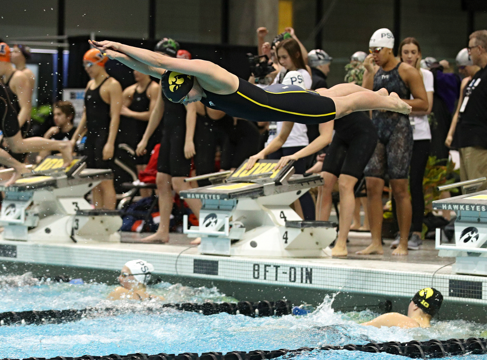 Iowa's Kennedy Gilbertson swims in the women's 200 yard freestyle relay event during the 2020 Women's Big Ten Swimming and Diving Championships at the Campus Recreation and Wellness Center in Iowa City on Friday, February 21, 2020. (Stephen Mally/hawkeyesports.com)
