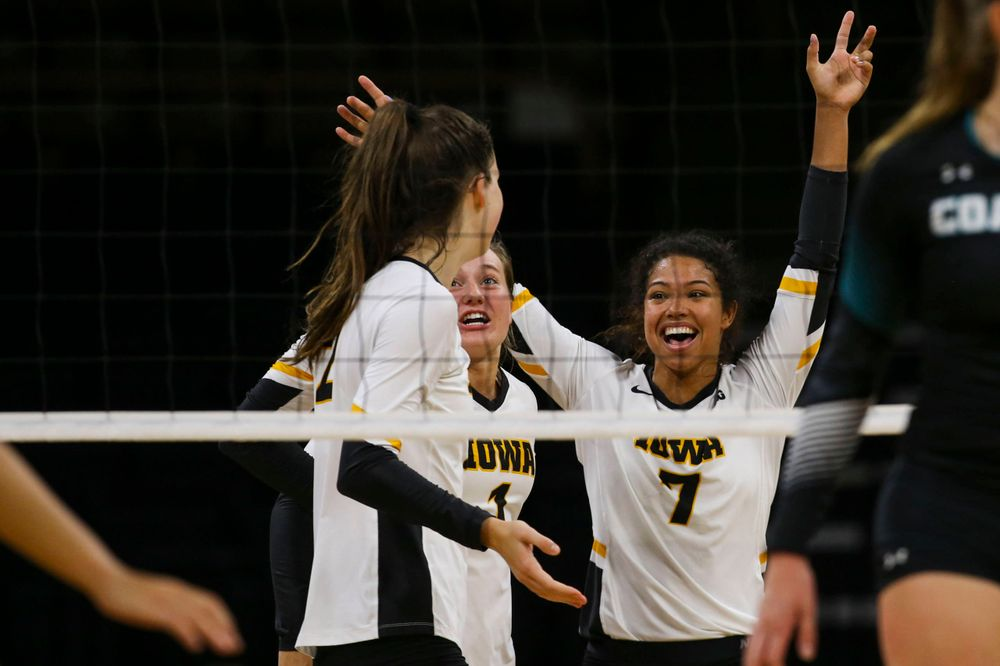 Iowa Hawkeyes defensive specialist Joslyn Boyer (1) and setter Brie Orr (7) against Coastal Carolina Friday, September 20, 2019 at Carver-Hawkeye Arena. (Lily Smith/hawkeyesports.com)
