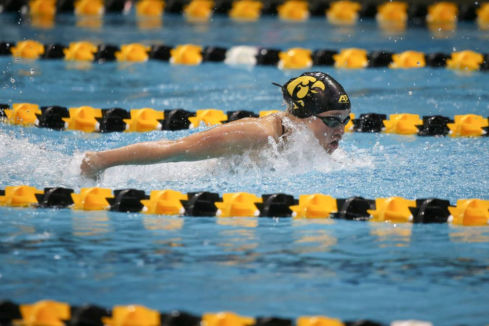 Iowa's Grace Reeder swims the 200-yard butterfly during the Iowa swimming and diving meet vs Notre Dame and Illinois on Saturday, January 11, 2020 at the Campus Recreation and Wellness Center. (Lily Smith/hawkeyesports.com)