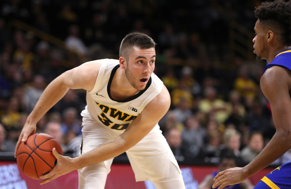 Iowa Hawkeyes guard Connor McCaffery (30) against the UKMC Kangaroos in the 2K Empire Classic Thursday, November 8, 2018 at Carver-Hawkeye Arena. (Brian Ray/hawkeyesports.com)