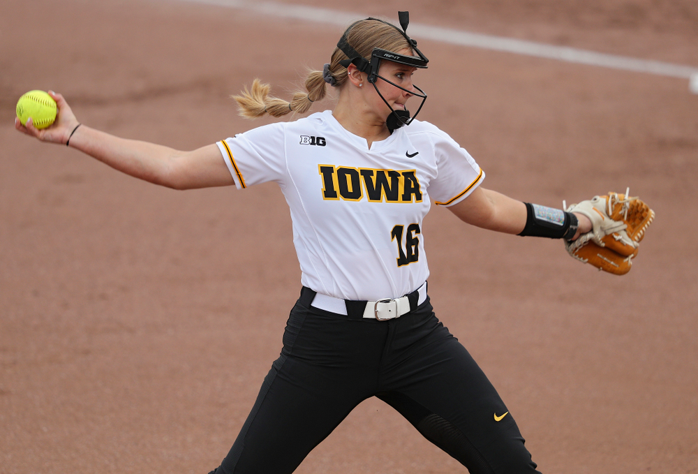 Iowa pitcher Sarah Lehman (16) delivers to the plate during the first inning of their game against Ohio State at Pearl Field in Iowa City on Friday, May. 3, 2019. (Stephen Mally/hawkeyesports.com)