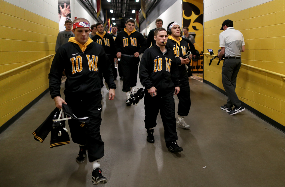 The Iowa Hawkeye take the floor for their meet against Penn State Friday, January 31, 2020 at Carver-Hawkeye Arena. (Brian Ray/hawkeyesports.com)