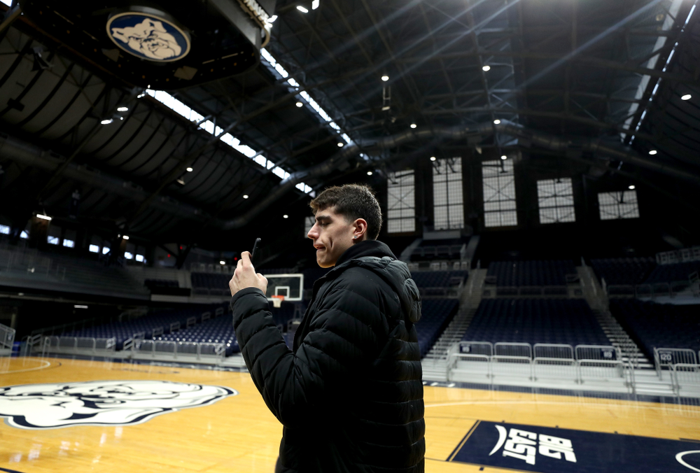 Iowa Hawkeyes forward Luka Garza (55) during practice at Hinkle Fieldhouse  Wednesday, March 11, 2020 in Indianapolis. (Brian Ray/hawkeyesports.com)