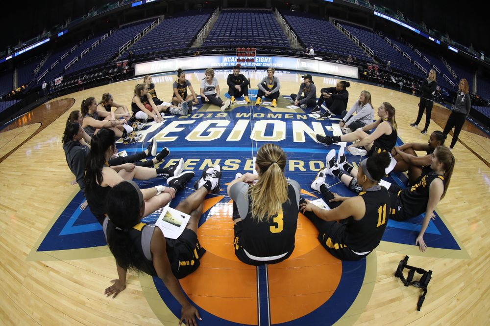 The Iowa Hawkeyes talk in their circle during shoot around before their regional final against the Baylor Lady Bears in the 2019 NCAA Women's College Basketball Tournament Monday, April 1, 2019 at Greensboro Coliseum in Greensboro, NC.(Brian Ray/hawkeyesports.com)
