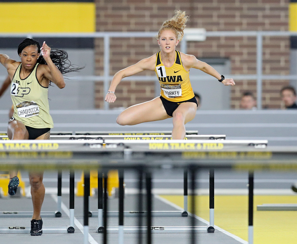 Iowa's Kylie Morken runs the women's 60 meter hurdles premier preliminary event during the Larry Wieczorek Invitational at the Recreation Building in Iowa City on Saturday, January 18, 2020. (Stephen Mally/hawkeyesports.com)