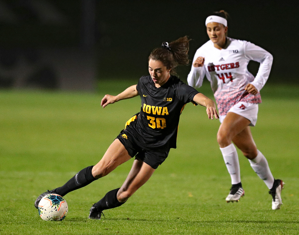 Iowa forward Devin Burns (30) moves with the ball during the first half of their match at the Iowa Soccer Complex in Iowa City on Friday, Oct 11, 2019. (Stephen Mally/hawkeyesports.com)