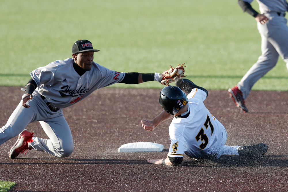 Iowa Hawkeyes outfielder Kace Massner (37) against Northern Illinois Tuesday, April 17, 2018 at Duane Banks Field. (Brian Ray/hawkeyesports.com)