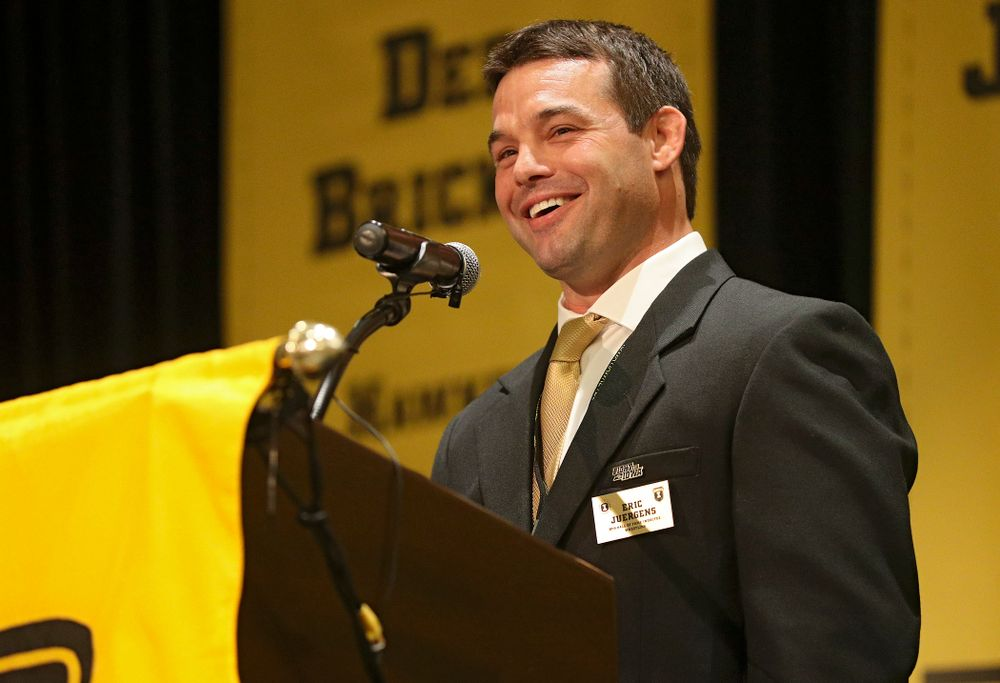 2019 University of Iowa Athletics Hall of Fame inductee Eric Juergens speaks during the Hall of Fame Induction Ceremony at the Coralville Marriott Hotel and Conference Center in Coralville on Friday, Aug 30, 2019. (Stephen Mally/hawkeyesports.com)